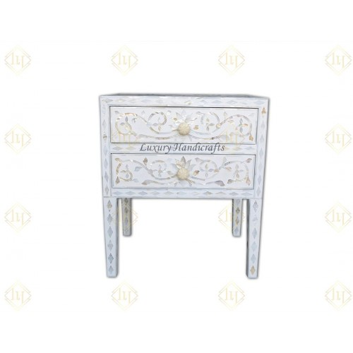 Mother Of Pearl Inlay Bedside 2 Drawer Lotus Design White