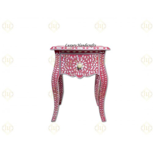 Pink Mother Of Pearl Inlay French Bedside 1 Drawer Floral Design