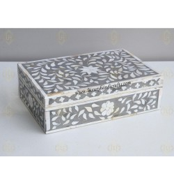 Mother Of Pearl Inlay Floral Box Grey