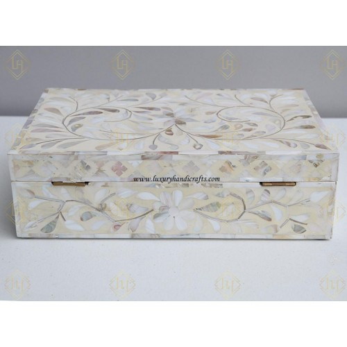 Mother Of Pearl Inlay Floral Box Ivory