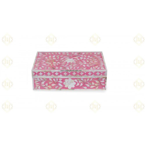 Mother Of Pearl Inlay Floral Box Pink