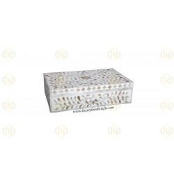 Mother Of Pearl Inlay Floral Box White