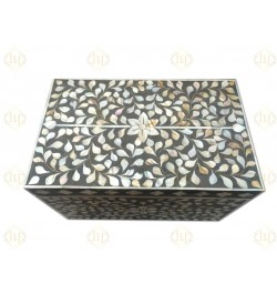 Mother Of Pearl Inlay Jewelry Box Dark Grey