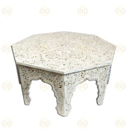 Ivory Mother Of Pearl Inlay Floral Center Table Eight Legged