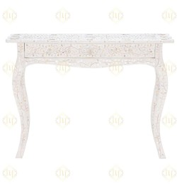 Mother Of Pearl Inlay 1 Drawer French Style Console White