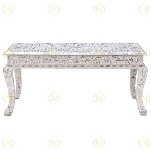 Mother Of Pearl Inlay Floral Coffee Table White