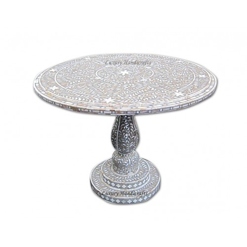 Mother Of Pearl Inlay Round Table Grey