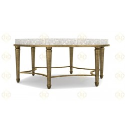 White Mother Of Pearl Shell Inlay Coffee Table