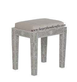 Mother Of Pearl Inlay Floral Stool Grey