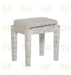Mother Of Pearl Inlay Floral Stool White