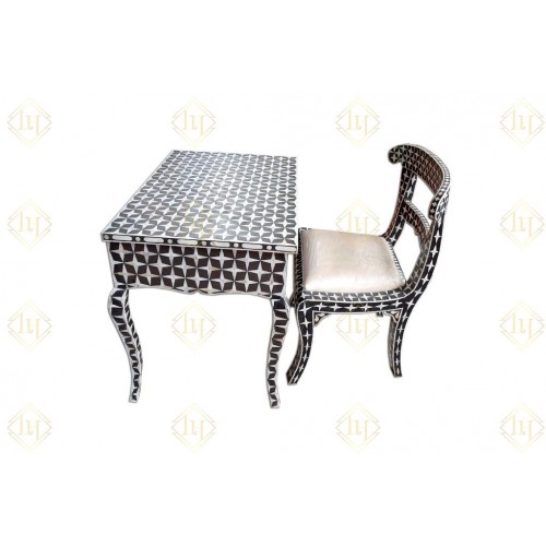 Mother Of Pearl Inlay Star Design Chair Black