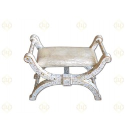 White Mother Of Pearl Inlay Jenny Chair Floral Design