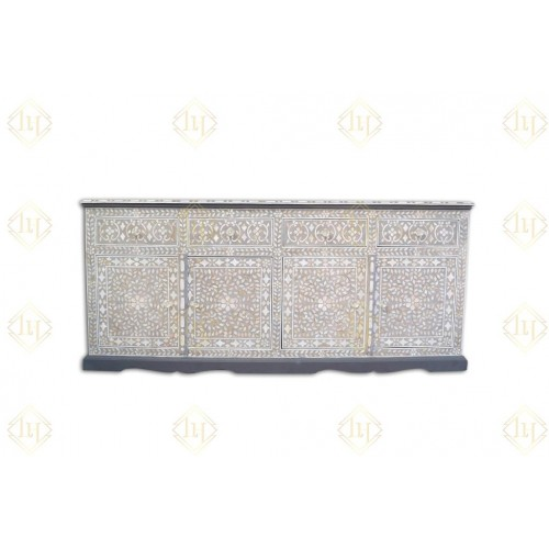 Arabic Mother Of Pearl Inlay Cabinet Light Grey