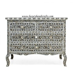 Black Mother Of Pearl 4 Drawer Chest Curved Legs