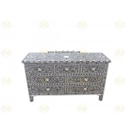 Black Mother Of Pearl Inlay Chest Of 7 Drawers Large