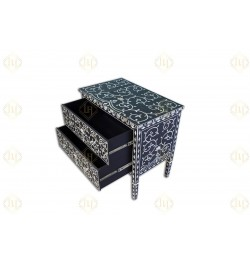 Black Mother Of Pearl Inlay Lotus 2 Drawer Chest