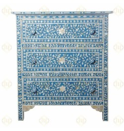 Blue Mother Of Pearl Inlay 3 Drawer Chest Floral