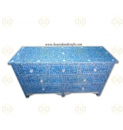 Blue Mother Of Pearl Inlay Chest Of 7 Drawers Large