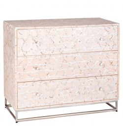 Fez Mother Of Pearl Inlay Chest Of Drawers - Pale Pink