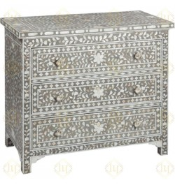 Grey Mother Of Pearl Inlay 3 Drawer Chest Floral