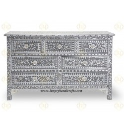 Grey Mother Of Pearl Inlay Chest Of 7 Drawers Large