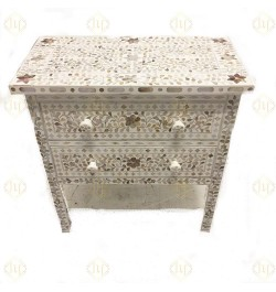 Mother Of Pearl Chest Of 2 Drawers In Floral Design In White Color