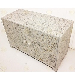 Mother Of Pearl Chest Of Two Door Floral Design In White Color