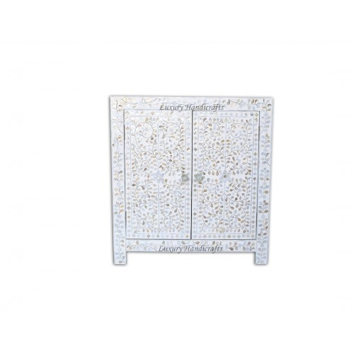Mother Of Pearl Inlay Cabinet Sideboard Floral Design White