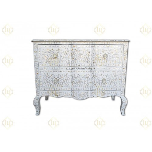 Mother Of Pearl Inlay Chest 2 Curved Drawer Floral Design White