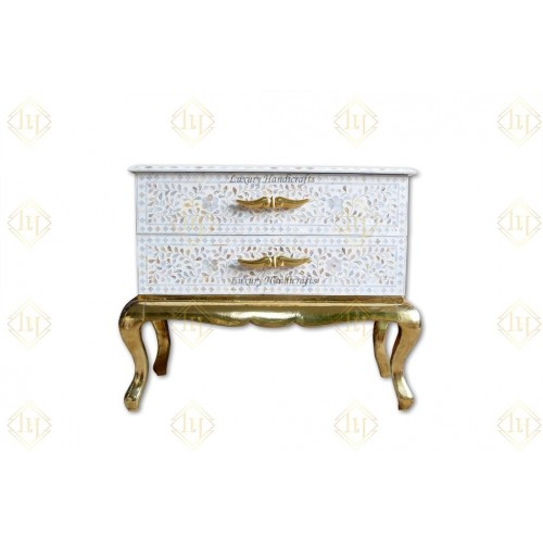 Royal Mother Of Pearl Inlay 2 Drawer Chest Brass Base White