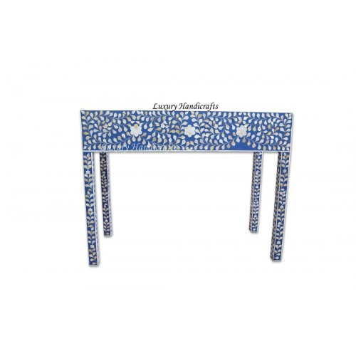 Blue Mother Of Pearl Inlay Floral 3 Drawer Console Table
