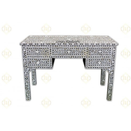 Grey Mother Of Pearl Inlay 5 Drawer Desk