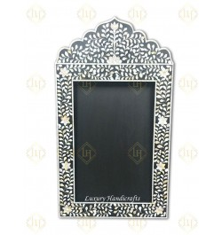 Mother Of Pearl Inlay Floral Crested Mirror Black