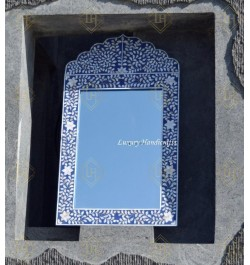 Mother Of Pearl Inlay Floral Crested Mirror Blue