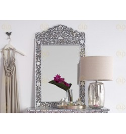 Mother Of Pearl Inlay Floral Crested Mirror Grey