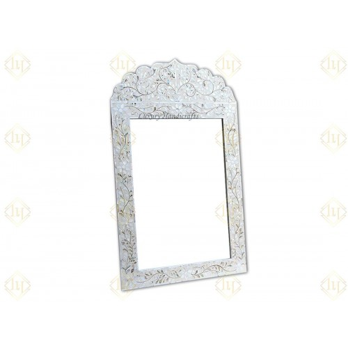 Mother Of Pearl Inlay Floral Crested Mirror Ivory