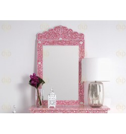 Mother Of Pearl Inlay Floral Crested Mirror Strawberry