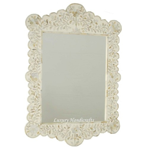 Mother Of Pearl Inlay Scalloped Mirror White