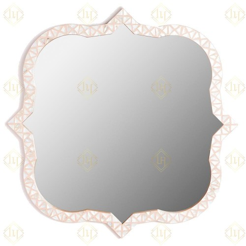 Triangle Mother Of Pearl Inlay Mirror - Nude Pink