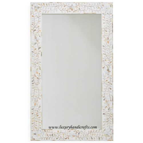 White Mother Of Pearl Floral Rectangle Mirror