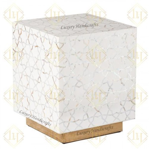 Mother Of Pearl Inlay Star Side Table Brass Base White