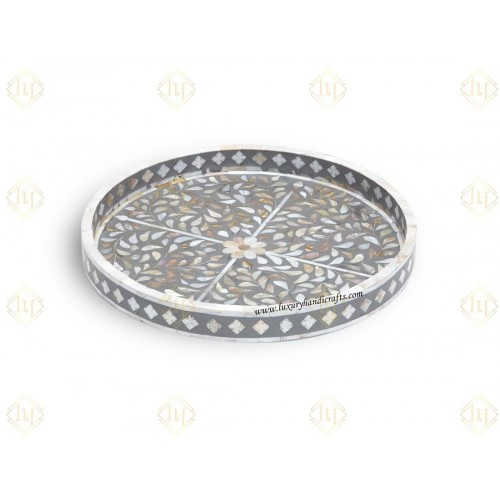 Grey Mother Of Pearl Inlay Floral Round Tray