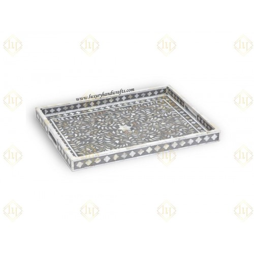 Mother Of Pearl Inlay Floral Rectangular Tray Grey