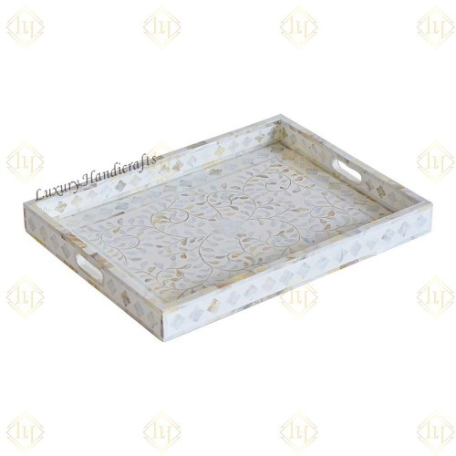 Mother Of Pearl Inlay Floral Rectangular Tray White