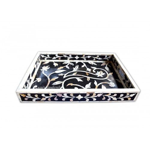 Mother Of Pearl Inlay Flower Tray Black