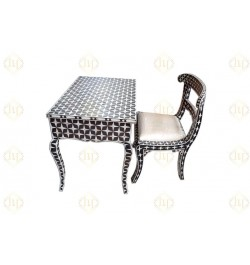 Black Mother Of Pearl Inlay Star Desk And Chair Combo