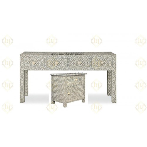 Bone Inlay Console And Bedsdie Geometric Design Grey