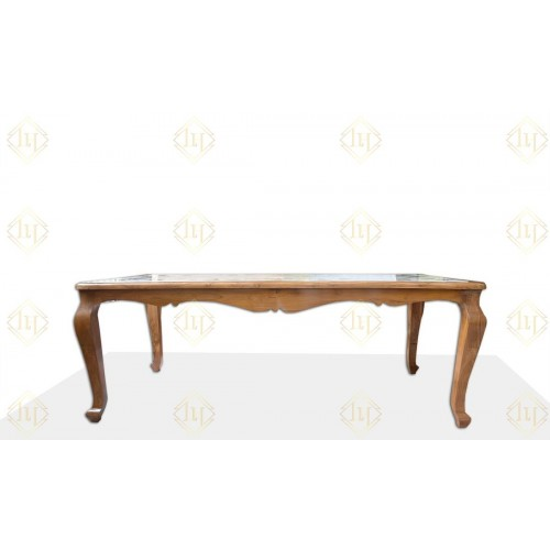 Teak Wood Dining Table With Italian Marble Floral Gemstone Inlay