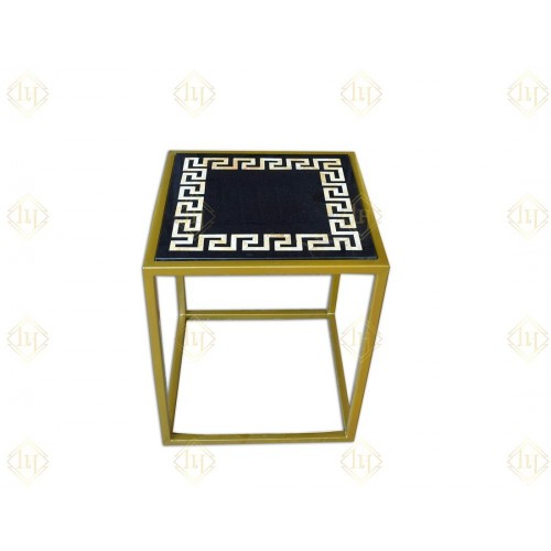 Black Marble Side Table With Yellow Tiger Inlay