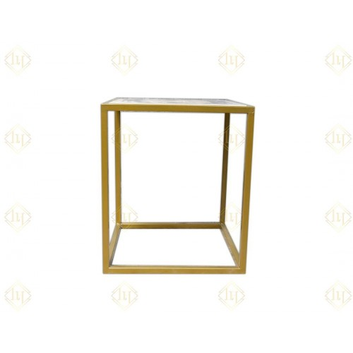 White Vietnamese Marble Side Table With Mop Inlay